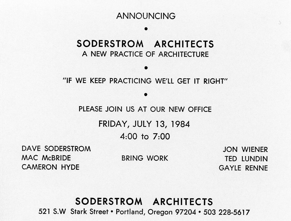Soderstrom Architects grand opening invite